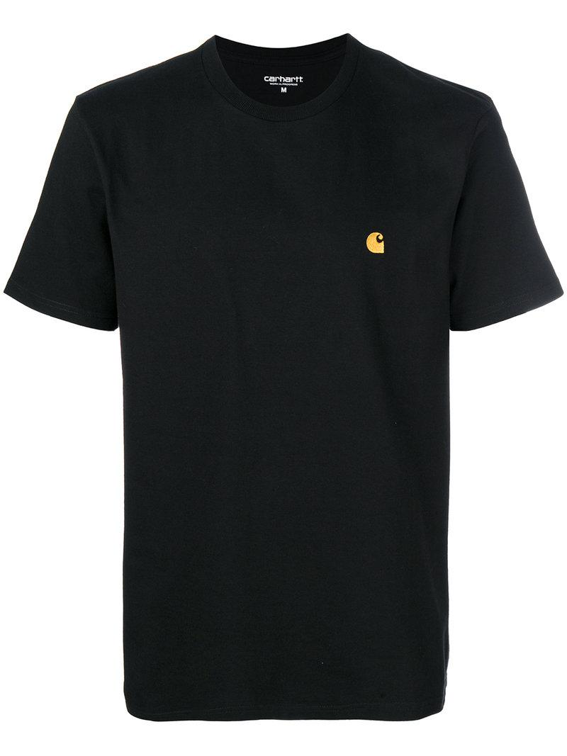 Lyst carhartt logo embroidered t shirt in black for men