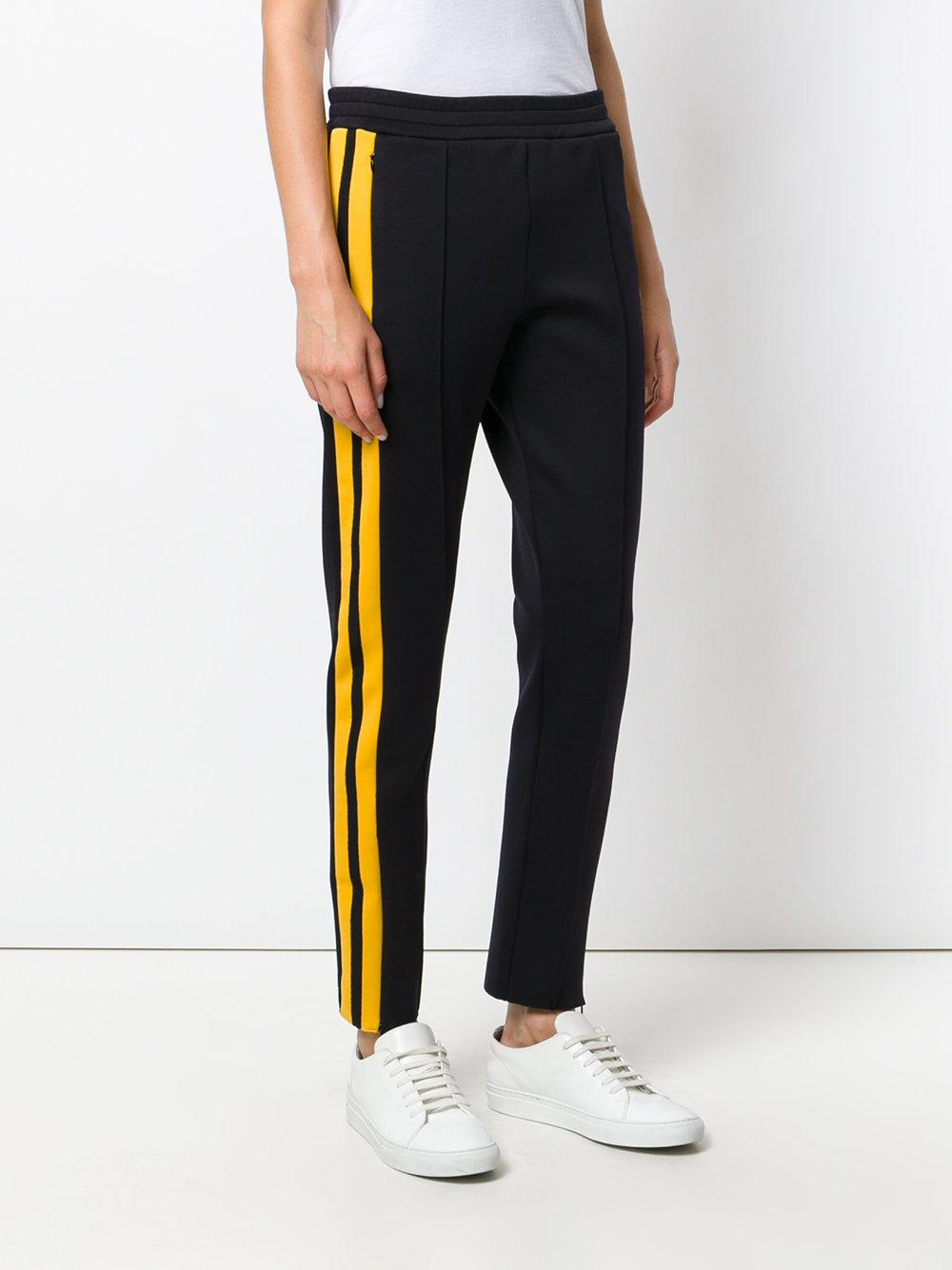 JOSEPH Synthetic Stripe Regular Fit Joggers in Black