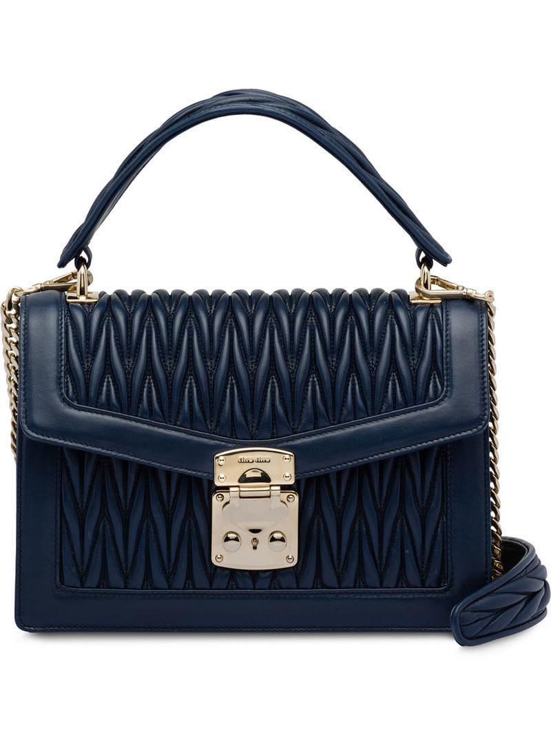 e2de9928968 Miu Miu Confidential Matelassé Leather Bag in Blue - Lyst