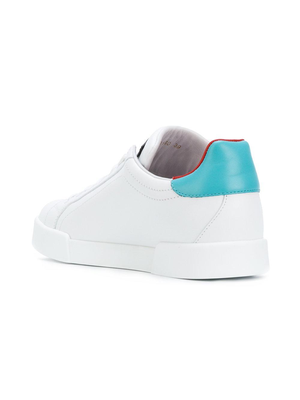 Dolce & Gabbana Leather Appliqué Logo Heart Sneakers in White