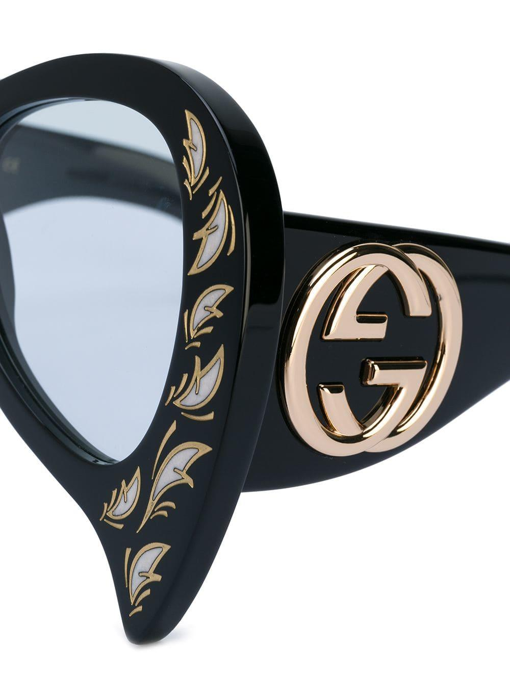 7f45acb55d Lyst - Gucci Inverted Cat Eye Glasses in Black