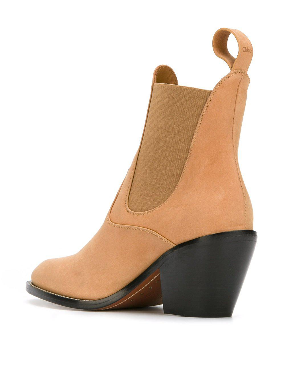 Chloé Leather Western Chelsea Boots in Brown