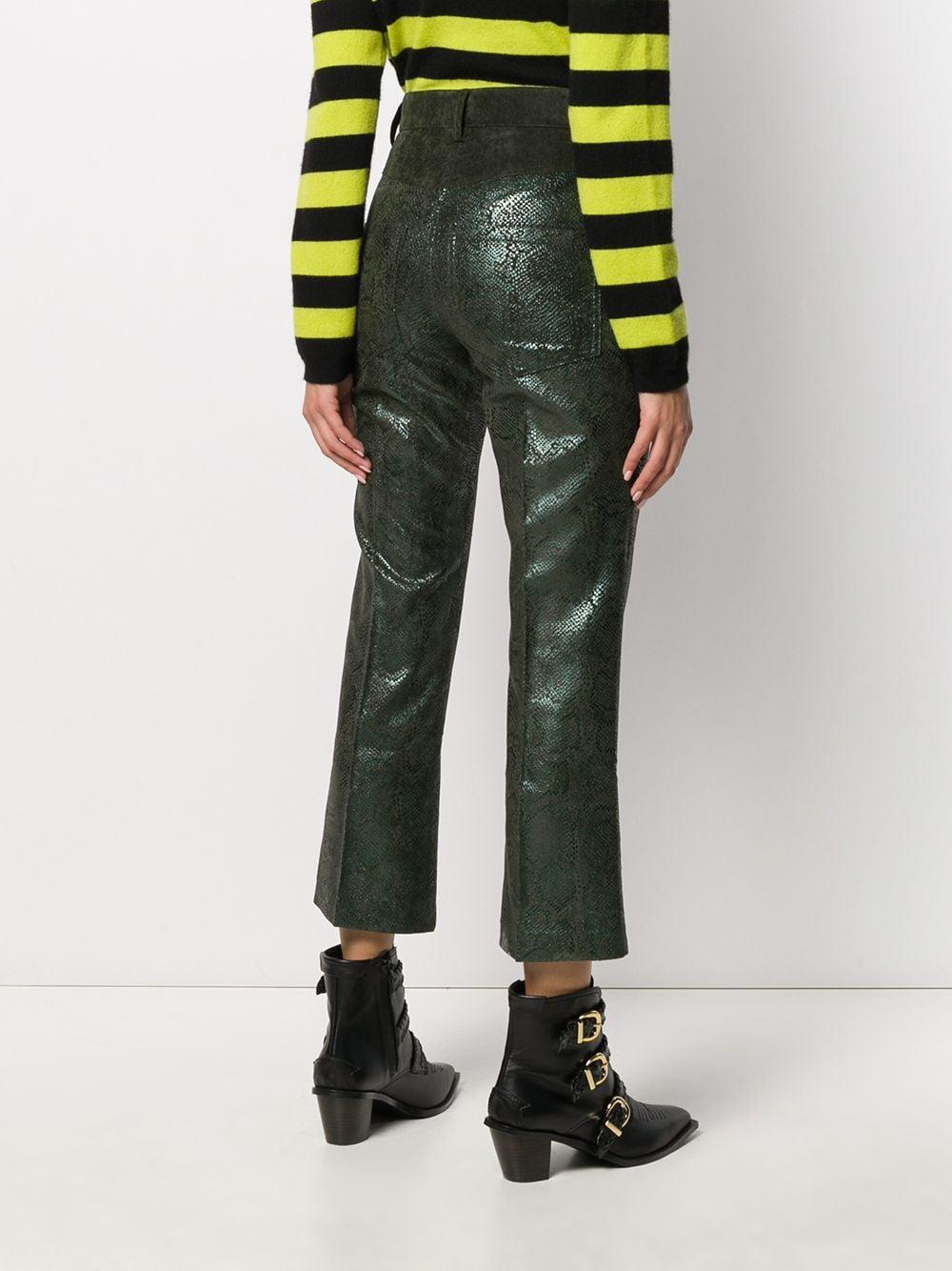 Pantalones capri con efecto de piel de serpiente 8pm de Pana de color Verde