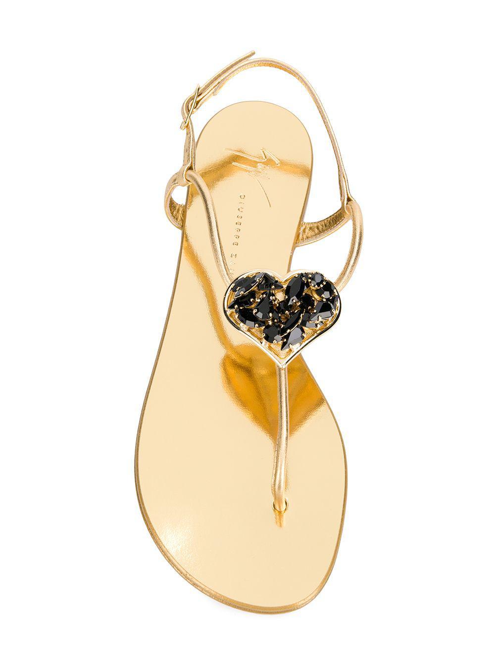 2086d5014 Giuseppe Zanotti - Metallic Heart Embellished Sandals - Lyst. View  fullscreen