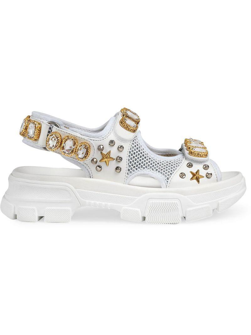 82ade8c215d Lyst - Gucci Leather And Mesh Sandal With Crystals in White