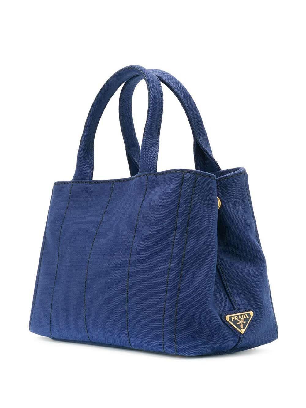 Prada Cotton Logo Print Tote Bag in Blue