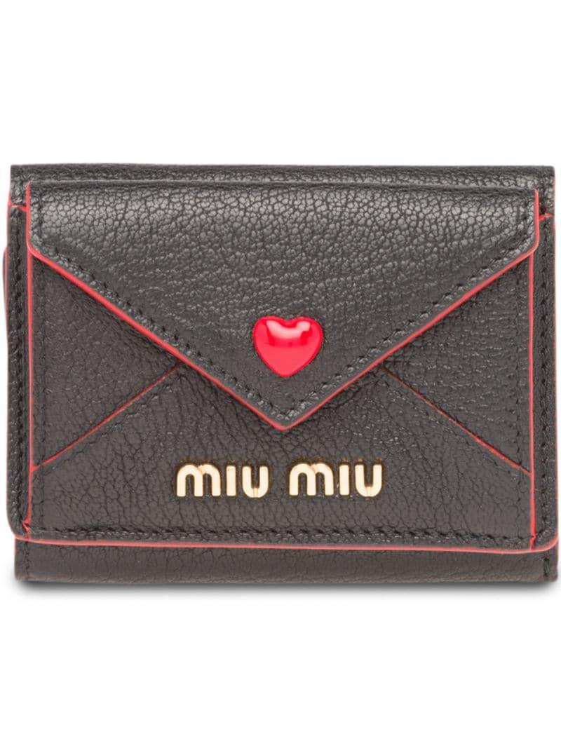894dd962fcf2 Miu Miu - Black Madras Heart Wallet - Lyst. View fullscreen