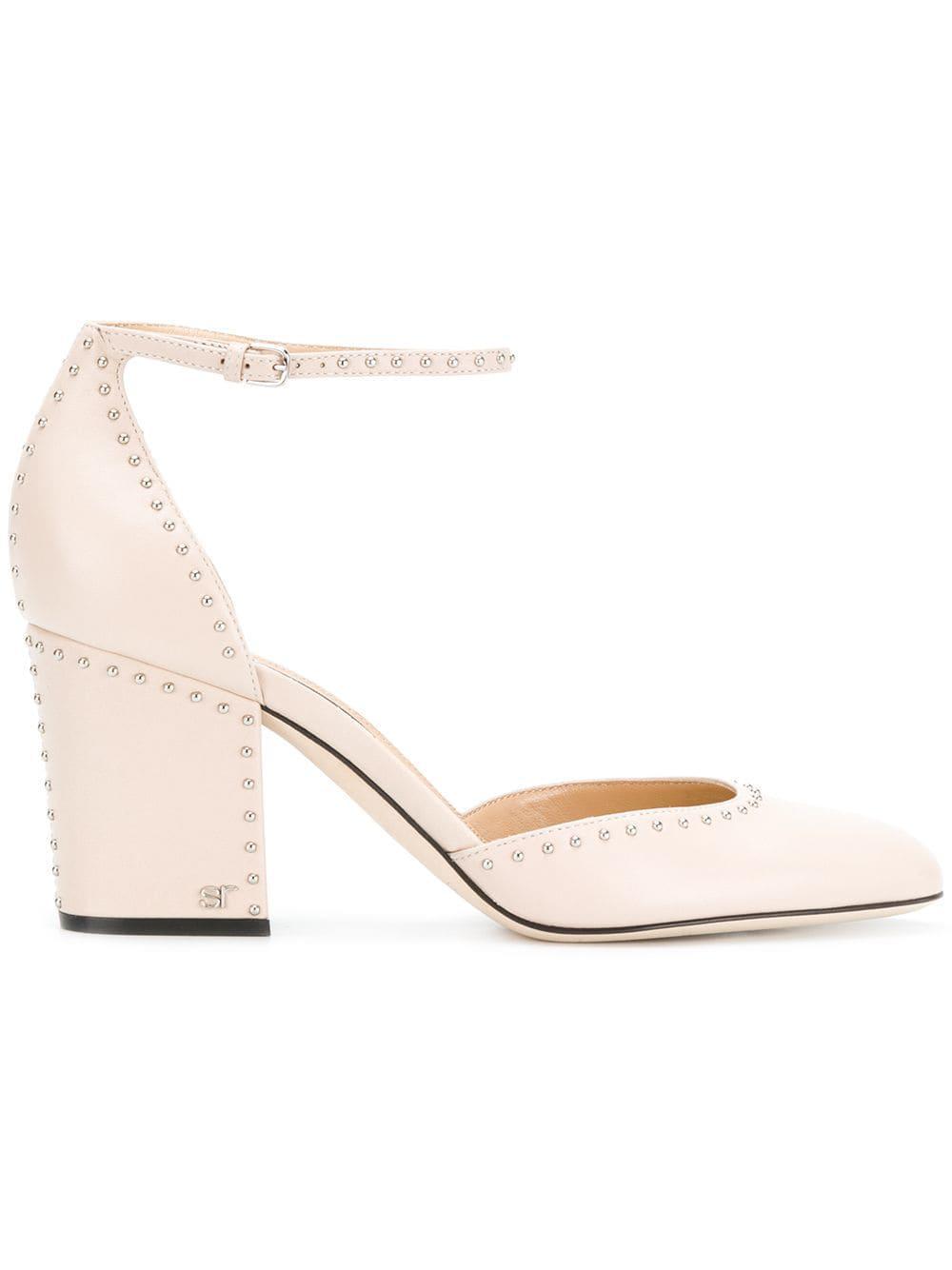 34e7fc7a Lyst - Zapatos de tacón medio con apliques Sergio Rossi de color Neutro