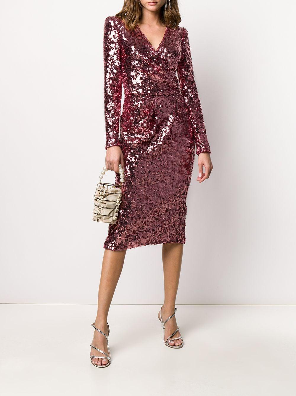 Robe à col v brodée de sequins Dolce & Gabbana en coloris Rouge
