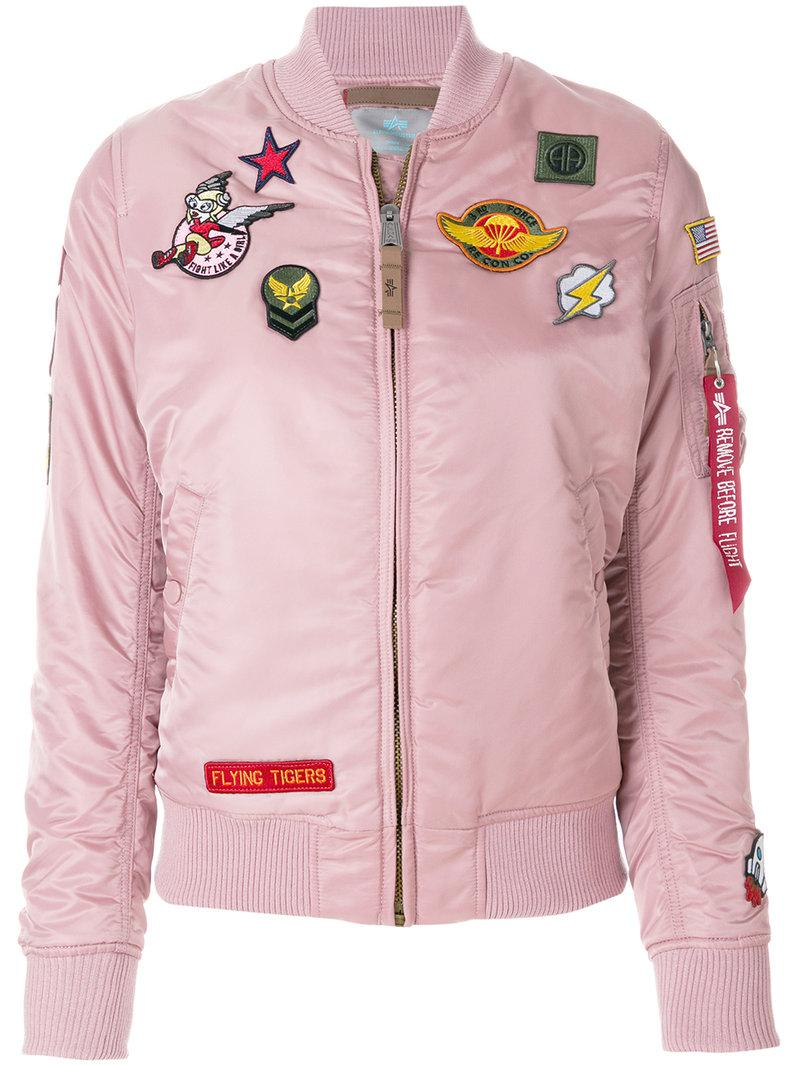 8996e5ba93cb4 Lyst - Alpha Industries Badge Patch Bomber Jacket in Pink