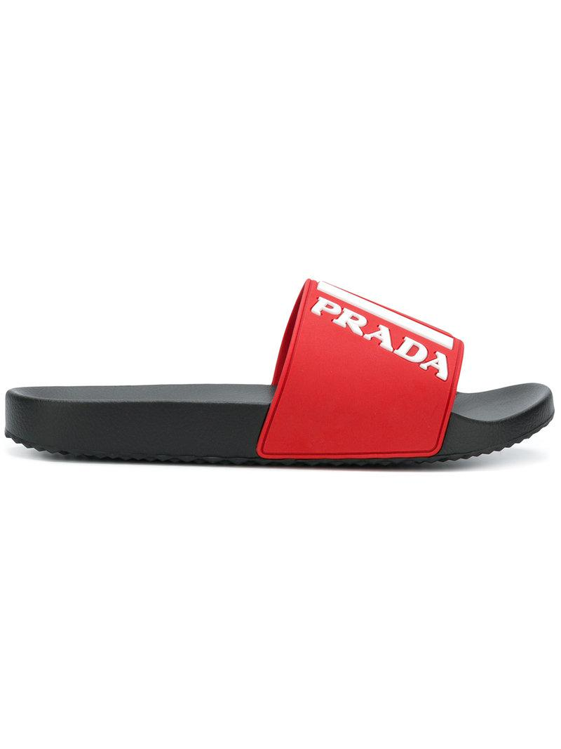 Prada Rubber Graphic Logo Pool Slides In Red For Men Lyst