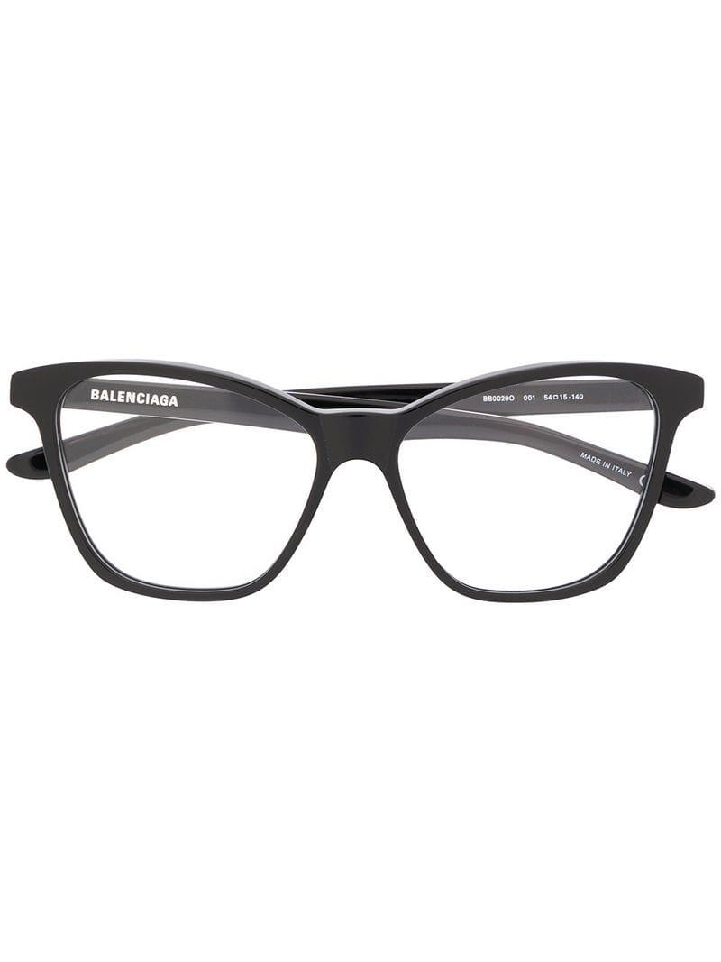 ddbb9d455b0 Lyst - Balenciaga Square Frame Glasses in Black