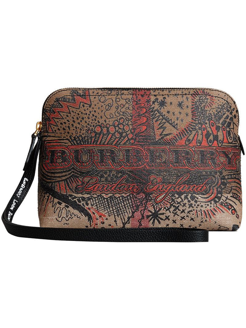 Lyst - Burberry Doodle Print Check Pouch in Brown 2fb5e7aa6b4d8