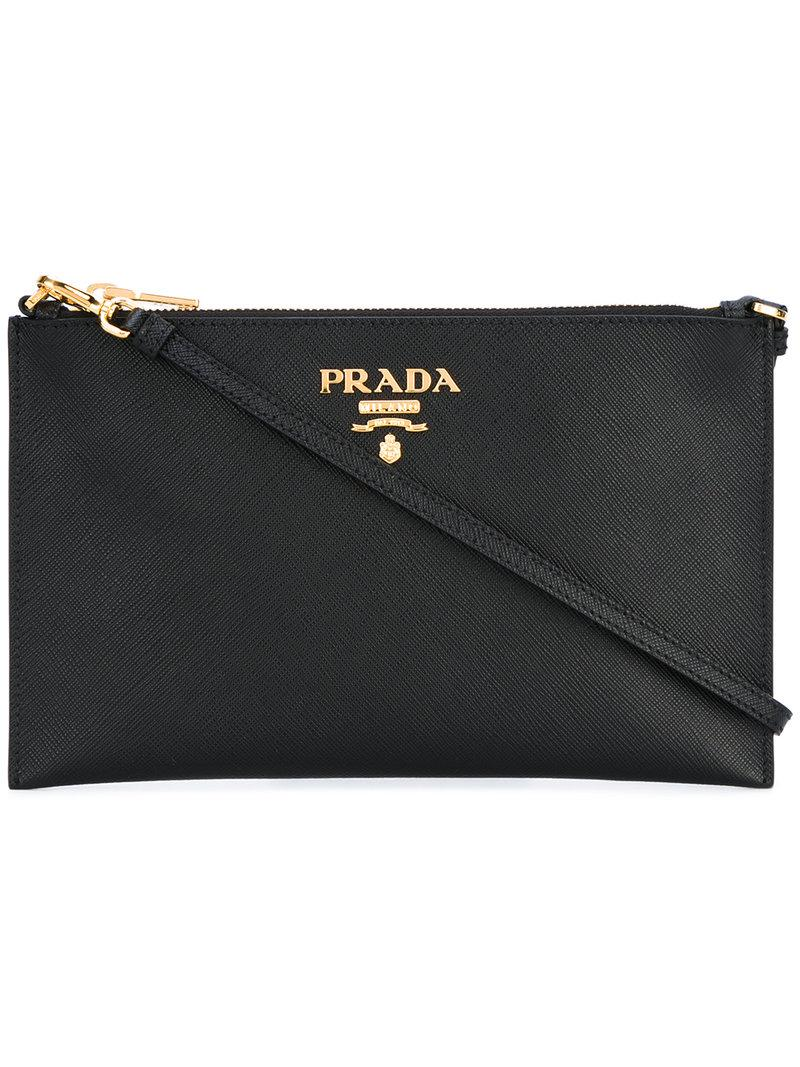 2f73671b942f Prada - Logo Plaque Clutch Bag - Women - Leather - One Size in Black ...