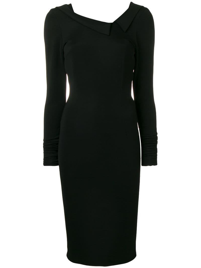 Styland Fitted Midi Dress in Black - Lyst