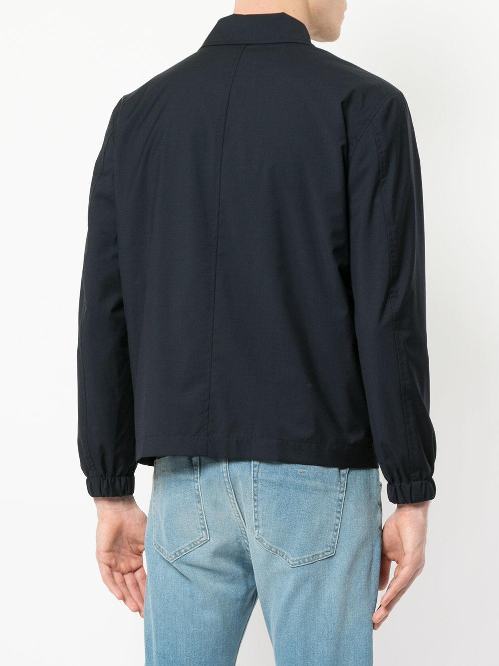 Cerruti 1881 Wool Zip Front Lightweight Jacket in Blue for Men