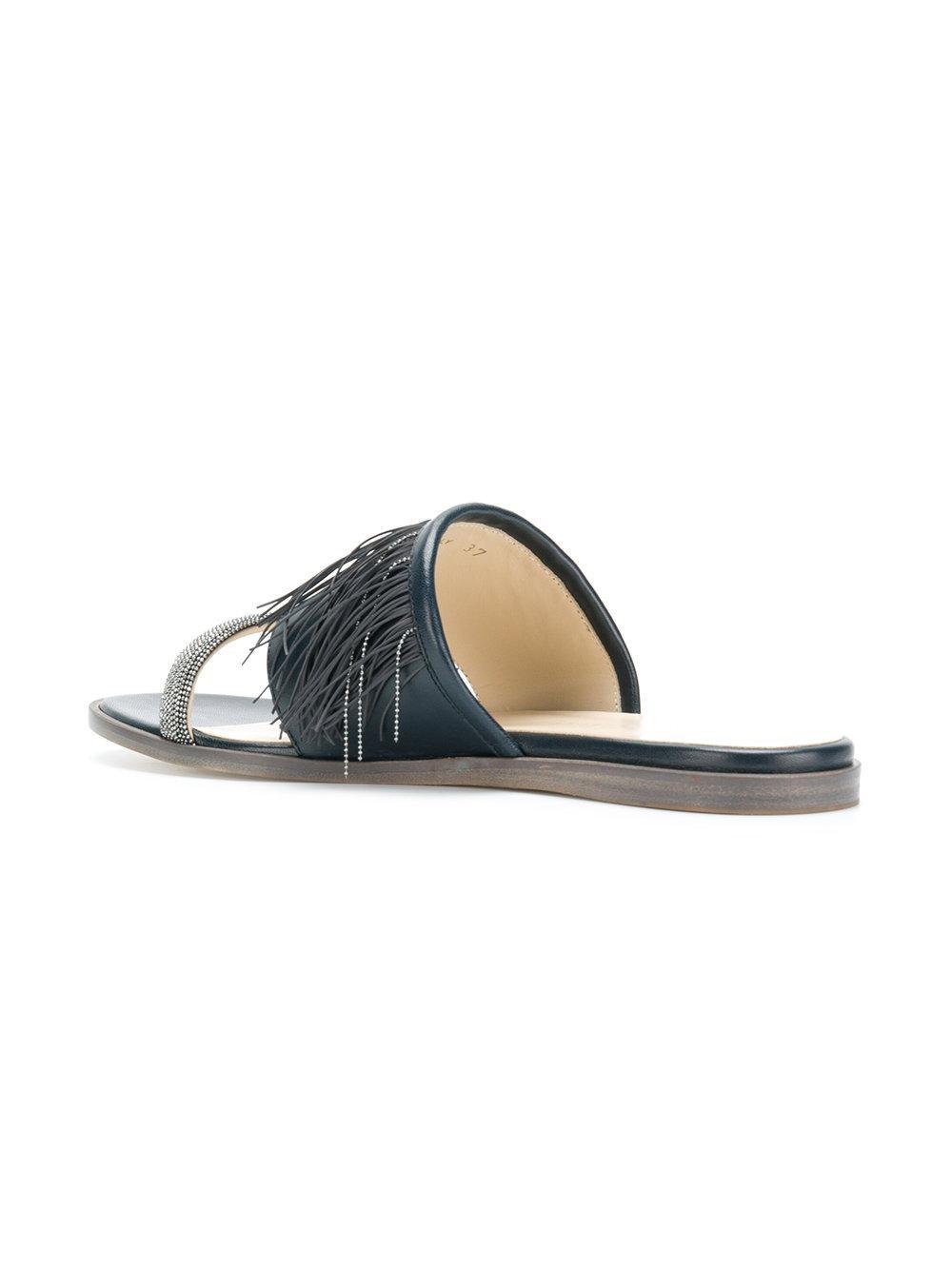 fringed sandals - Blue Fabiana Filippi J49fr