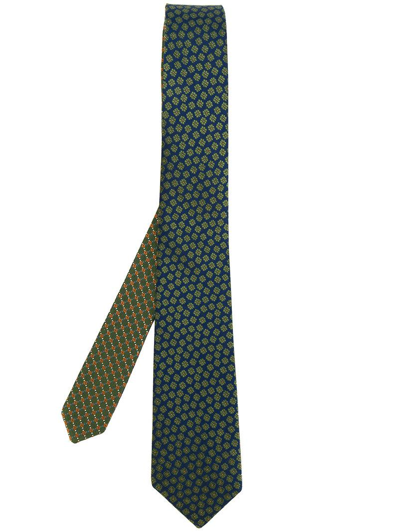 Lyst canali floral embroidered tie in green for men