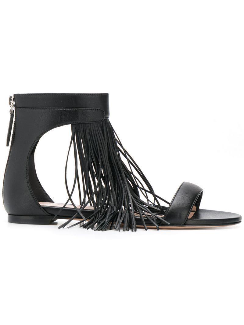 d9a2f282ae7 Alexander Mcqueen Fringed Flat Sandals in Black - Lyst