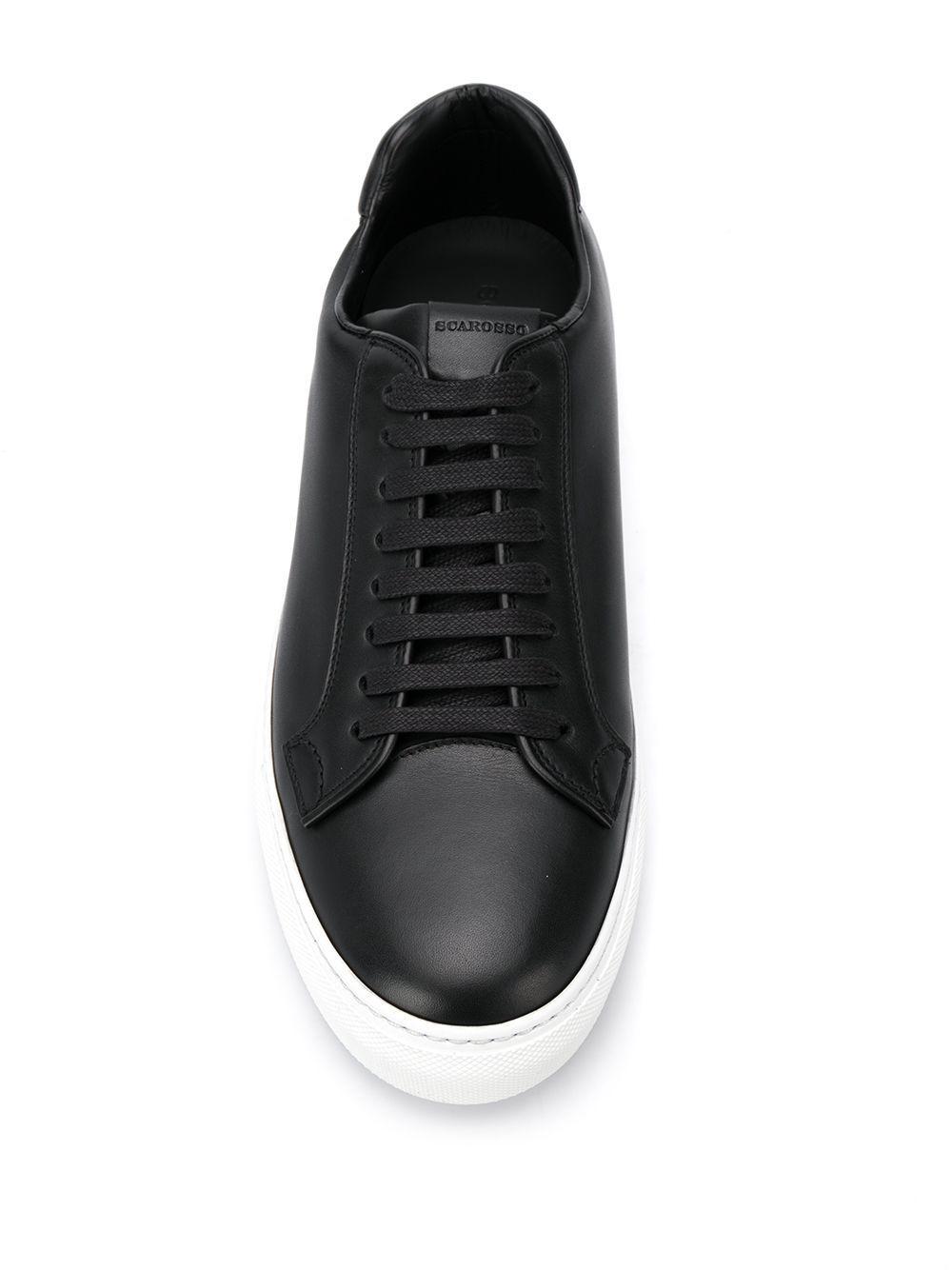 Zapatillas bajas SCAROSSO de Cuero de color Negro para hombre