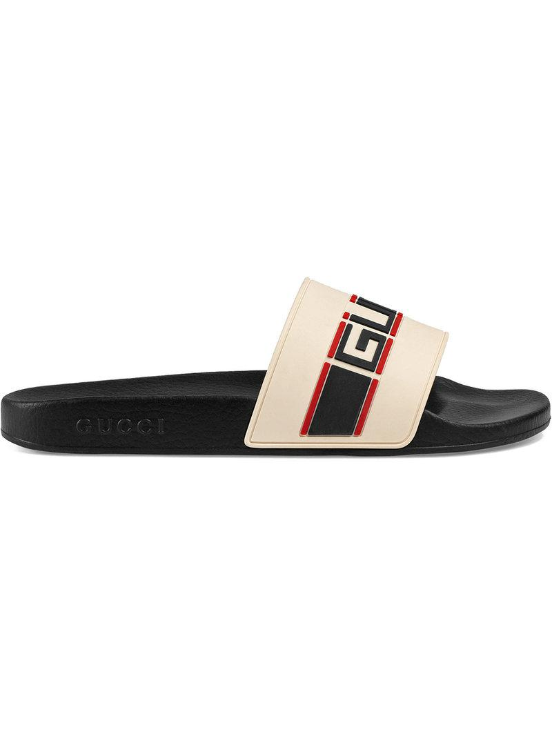 c16d0108301 Gucci Stripe Rubber Slide Sandal in White for Men - Save 17% - Lyst