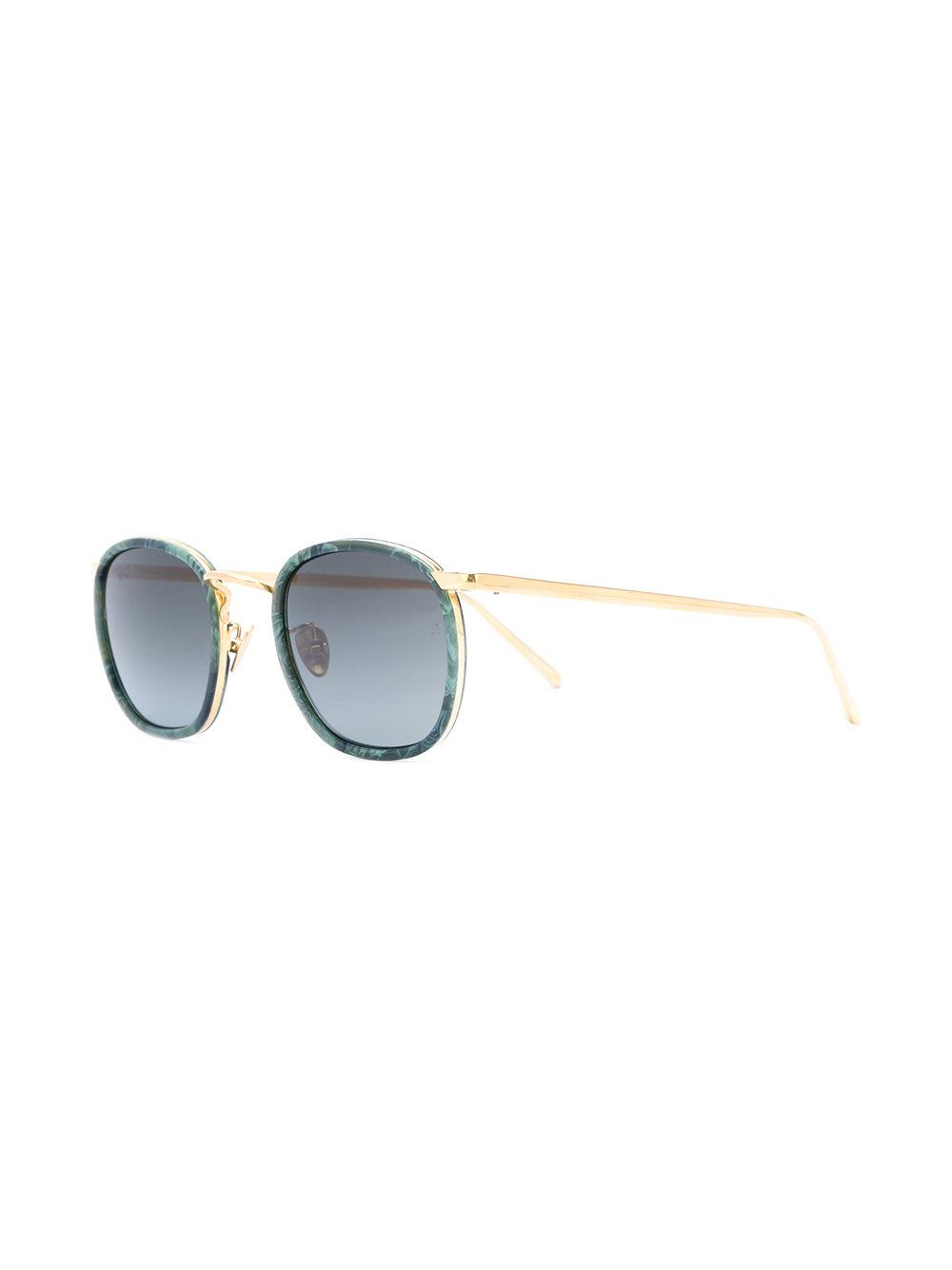 Linda Farrow Floral Frame Sunglasses in Green