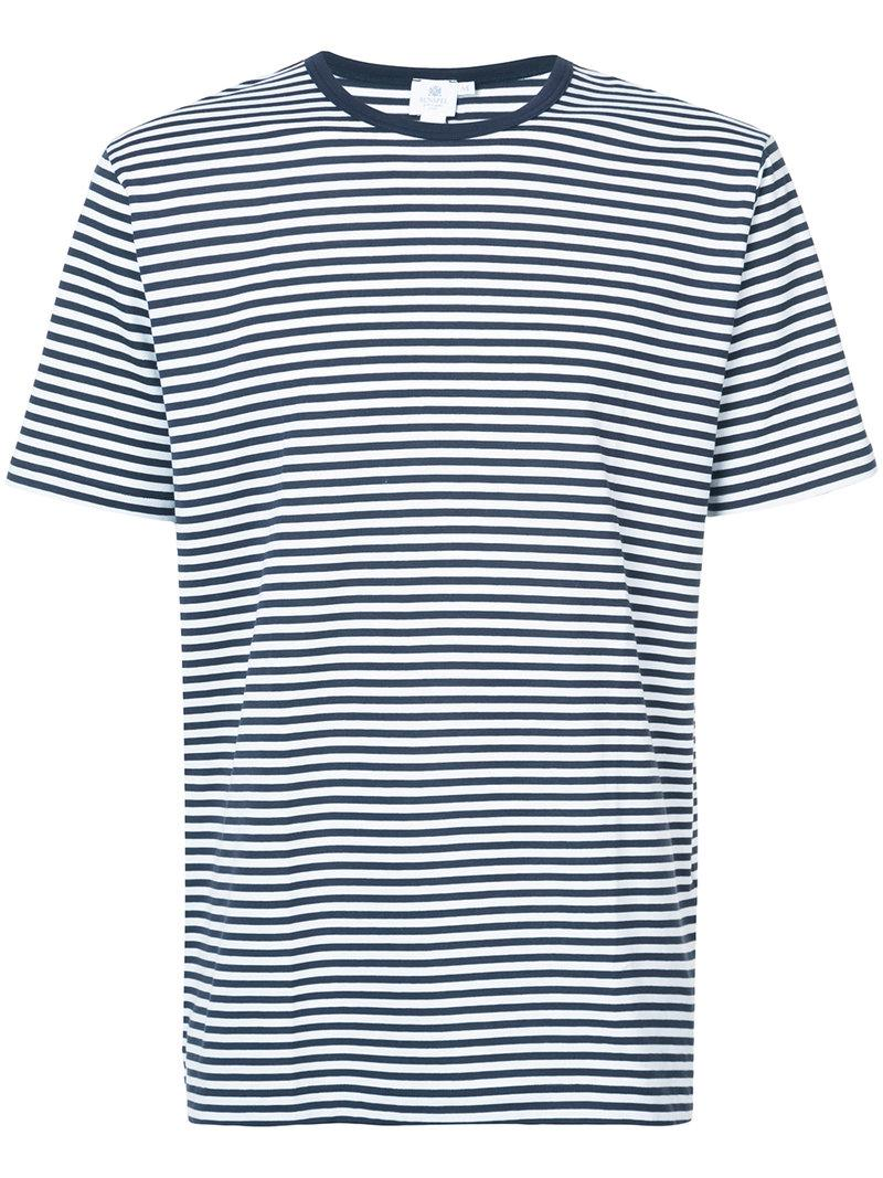 Clearance Shopping Online striped fitted T-shirt - Blue Sunspel Cheap Buy Authentic Find Great Online Cool Shopping GViIF4
