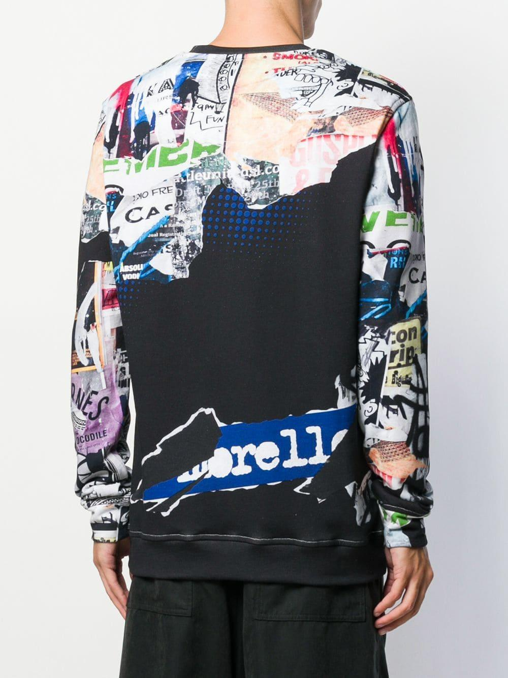 Frankie Morello Katoen Sweater Met All-over Print in het Zwart voor heren