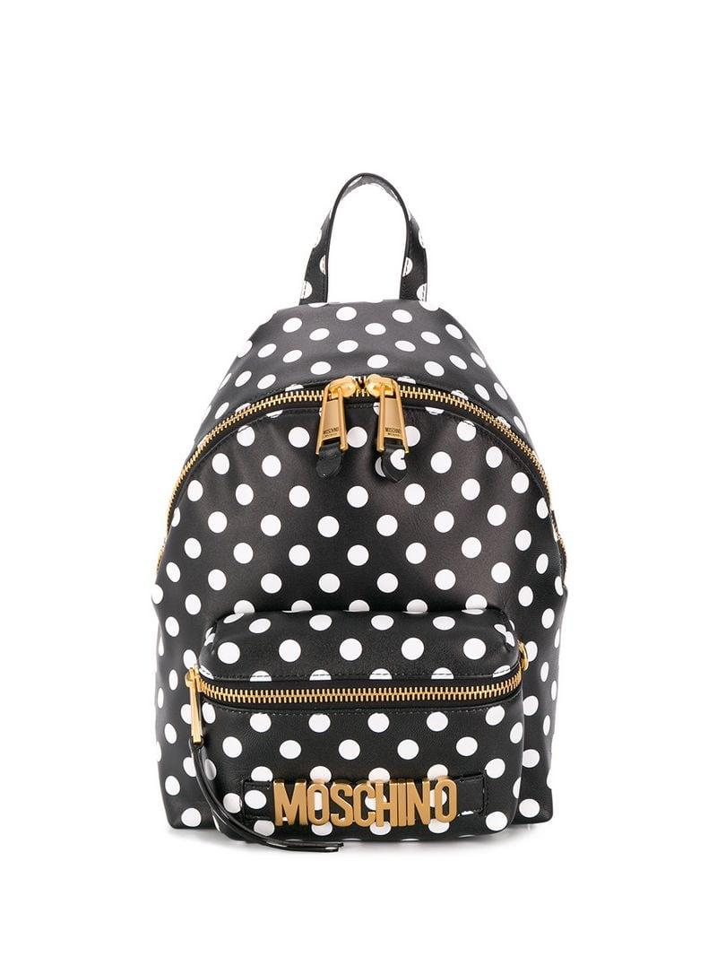 1d965692022dc Lyst - Moschino Polka-dot Backpack in Black