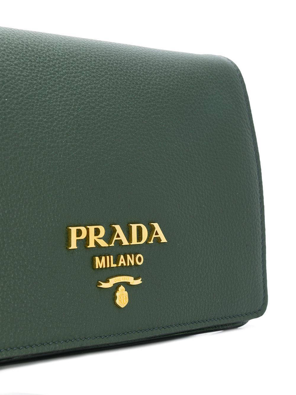Prada Leather Pebbled Crossbody in Green