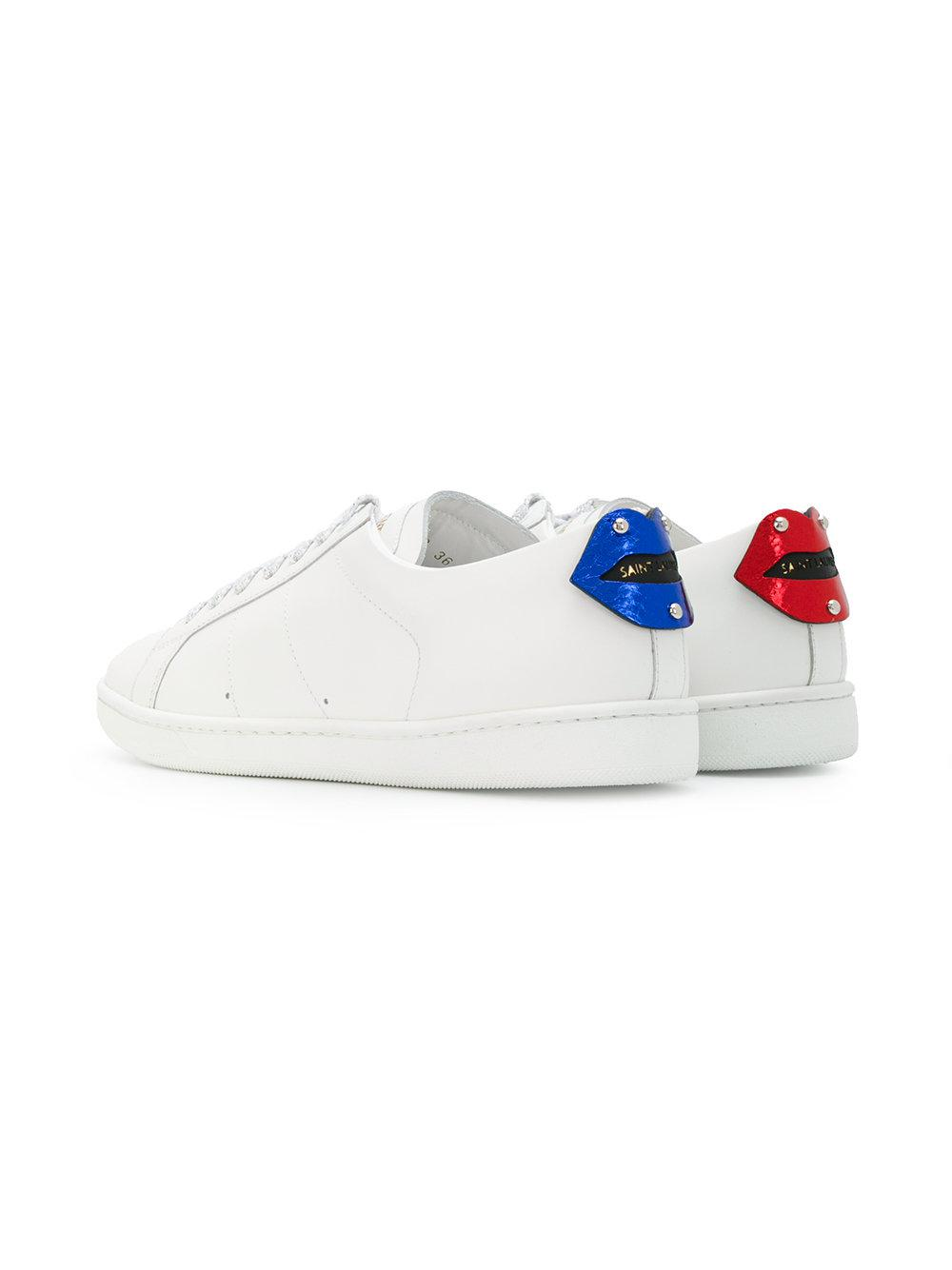 5a67b9b42fdf Saint Laurent - White Court Classic Lips Sneakers - Lyst. View fullscreen