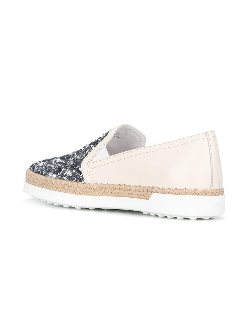 Tod's Leather Sequin Embellished Sneakers in White