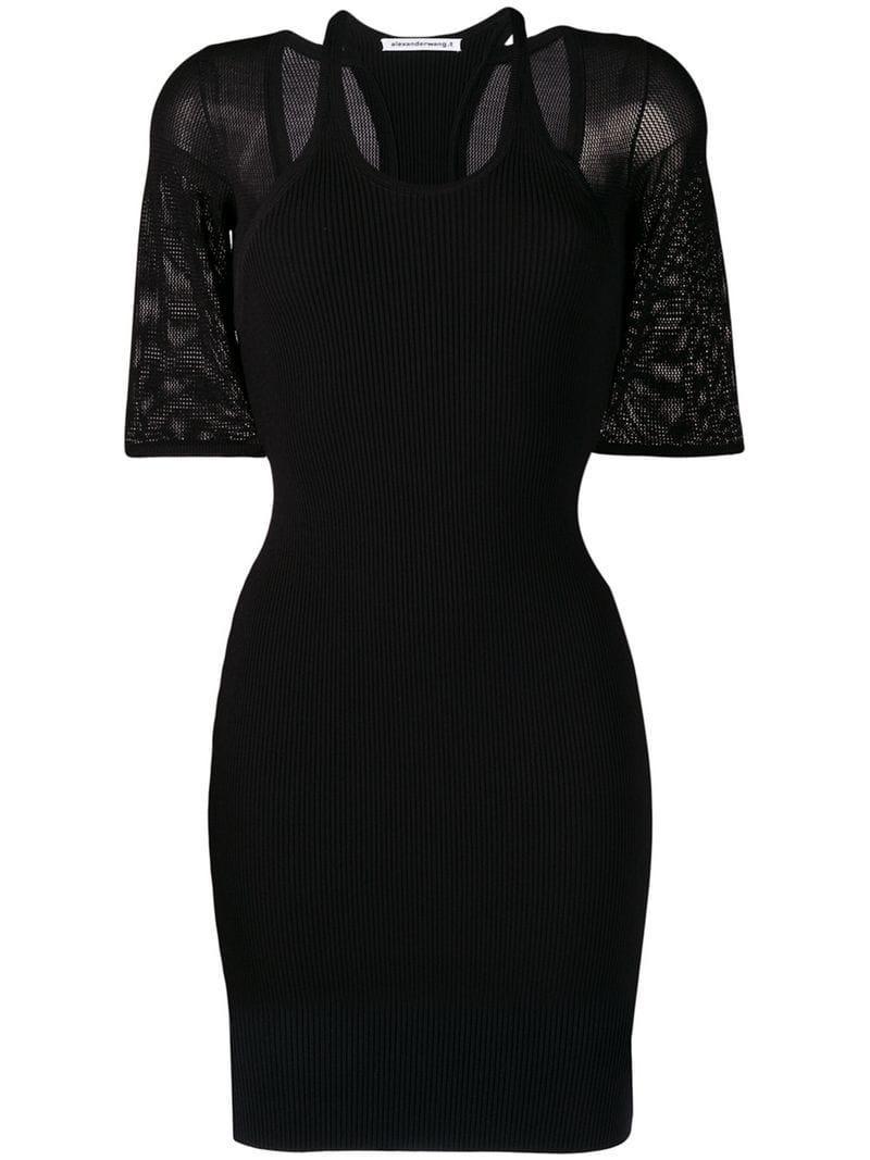 9038389eb47 T By Alexander Wang Mesh Layered Mini Dress in Black - Lyst