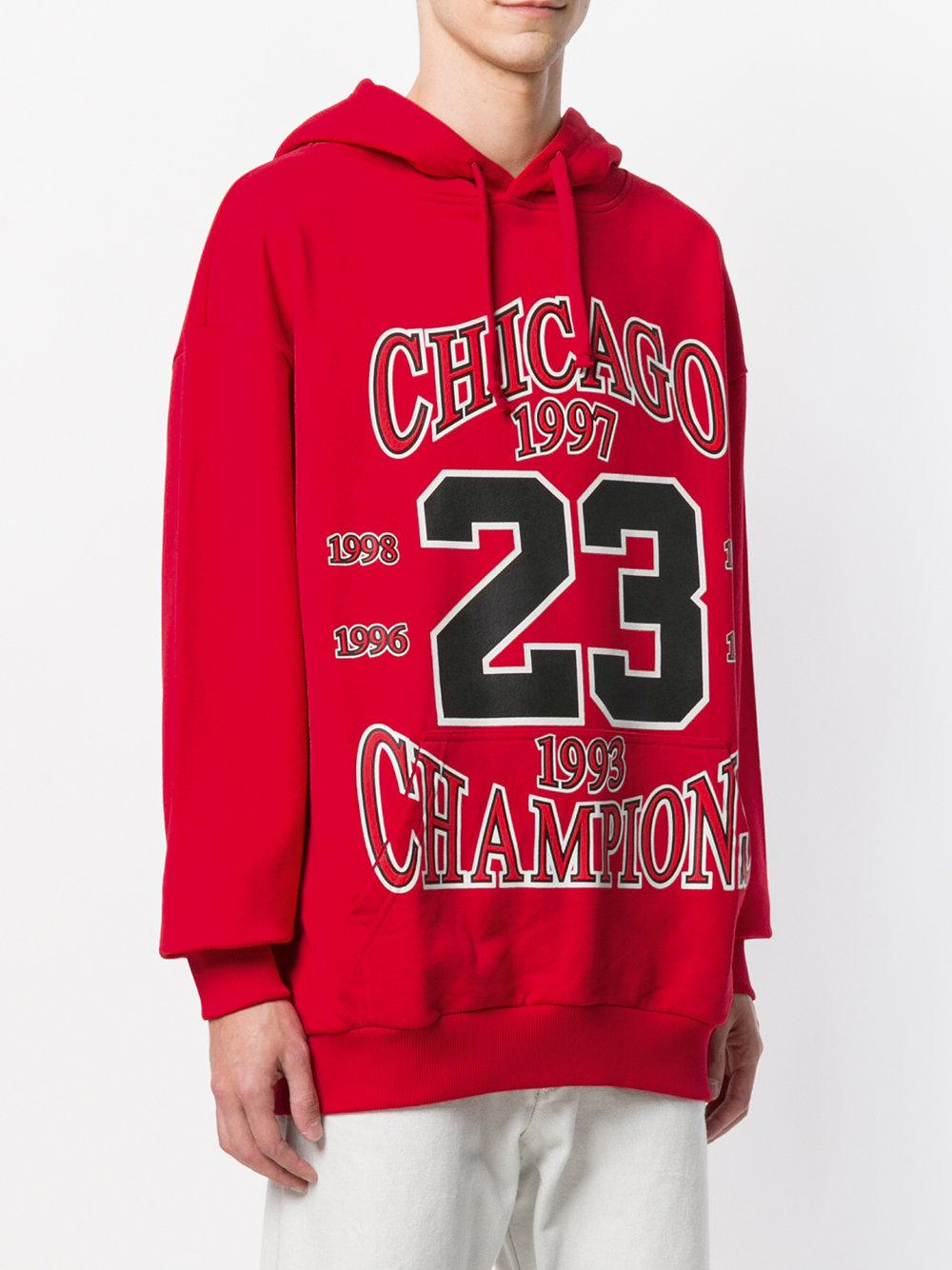 ih nom uh nit Cotton Chicago Bull Championship Hoodie in Red for Men