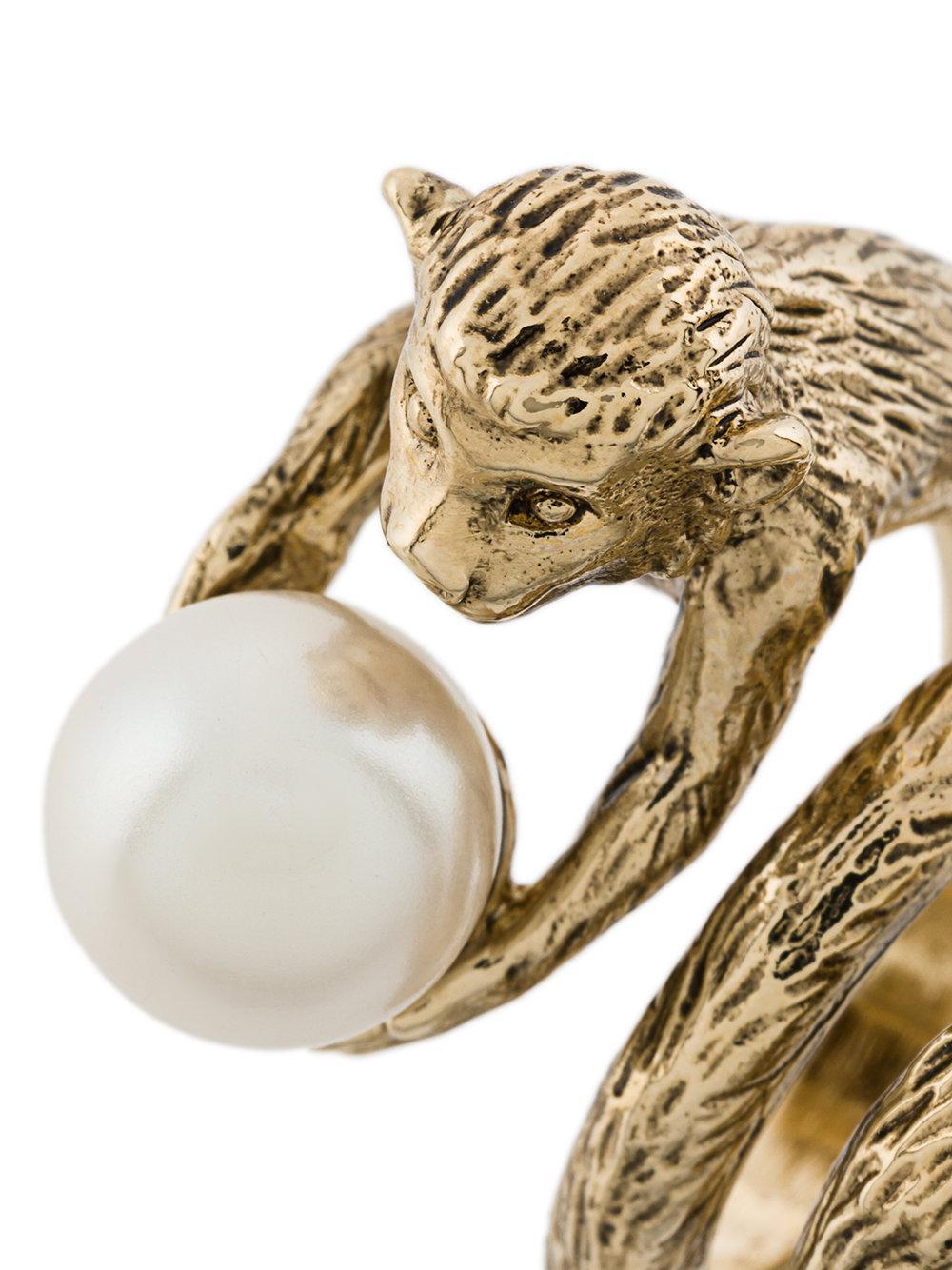 Alberta Ferretti Monkey Ring in Metallic