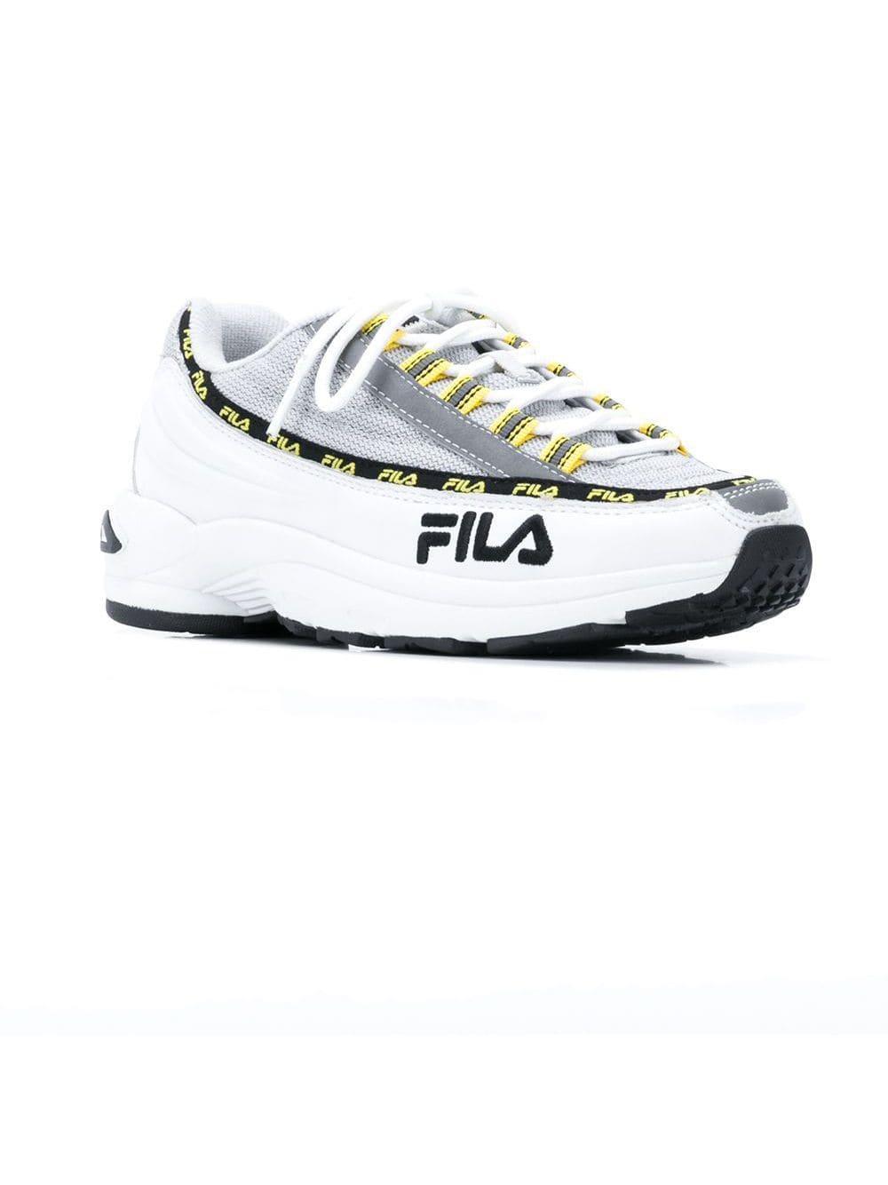 Zapatillas con cordones y logo Fila de Cuero de color Blanco