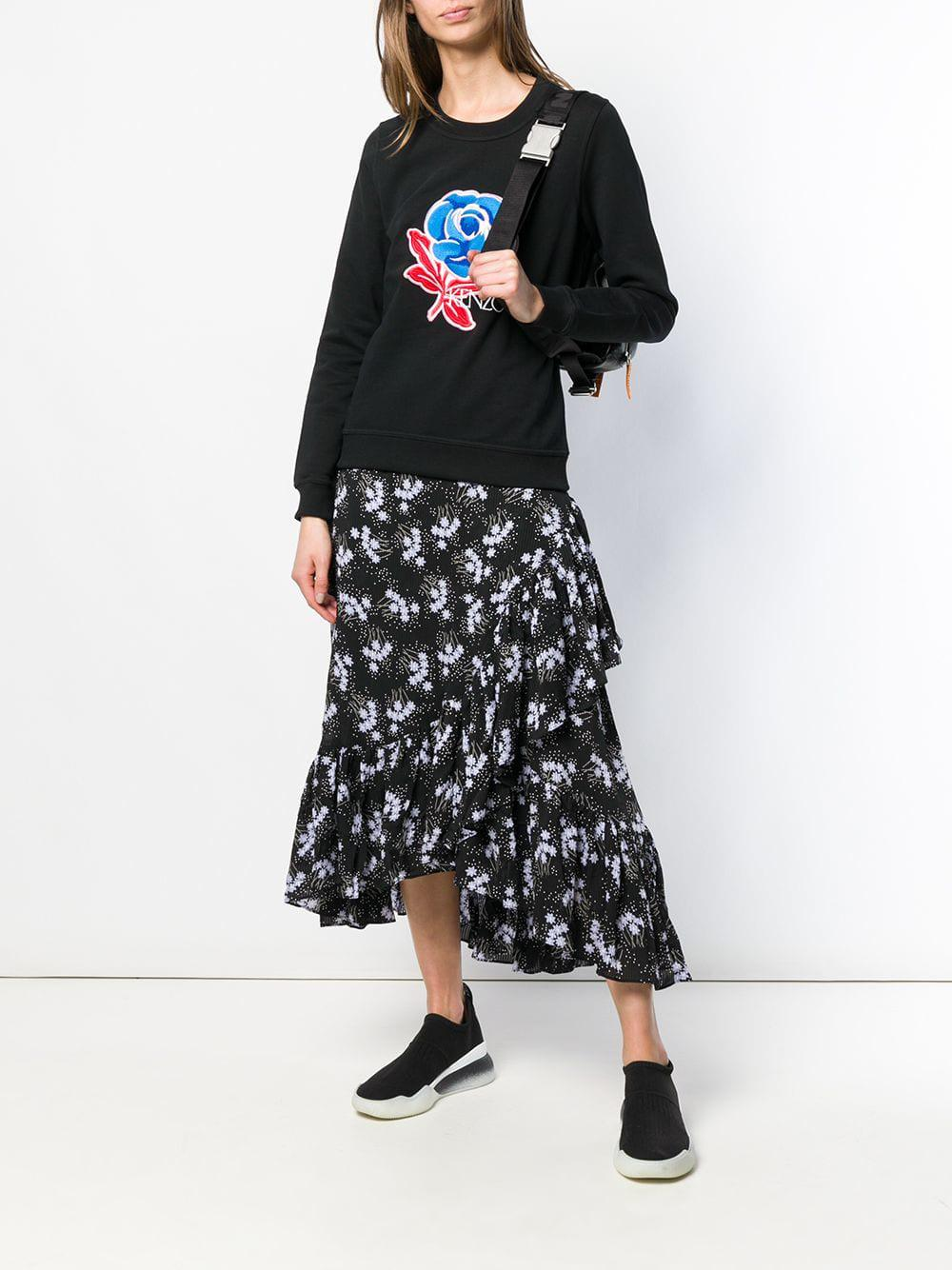 9634b3add6 KENZO Rose Embroidered Sweatshirt in Black - Lyst