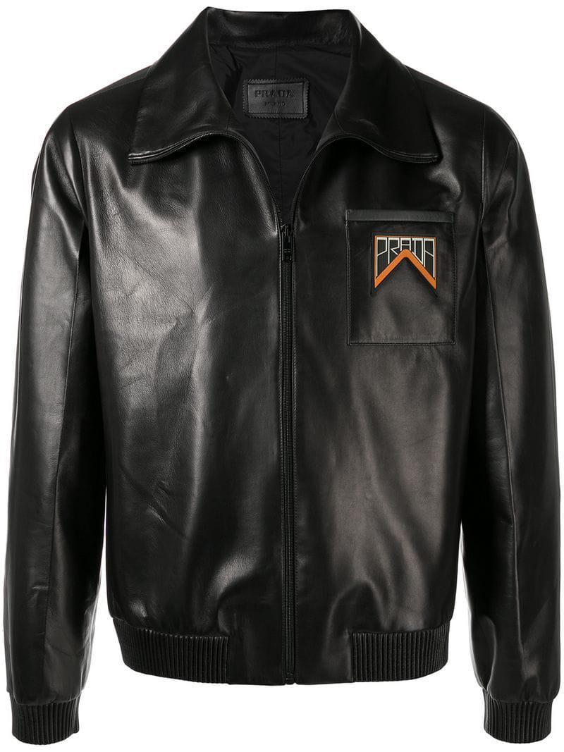4416a7843d9a Prada Logo Patch Bomber Jacket in Black for Men - Lyst