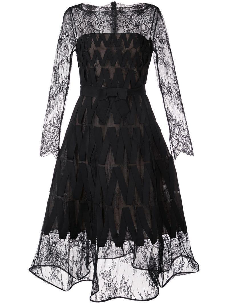fa5907e6af2 Lyst - Oscar de la Renta Flower Bouquet Lace Dress in Black
