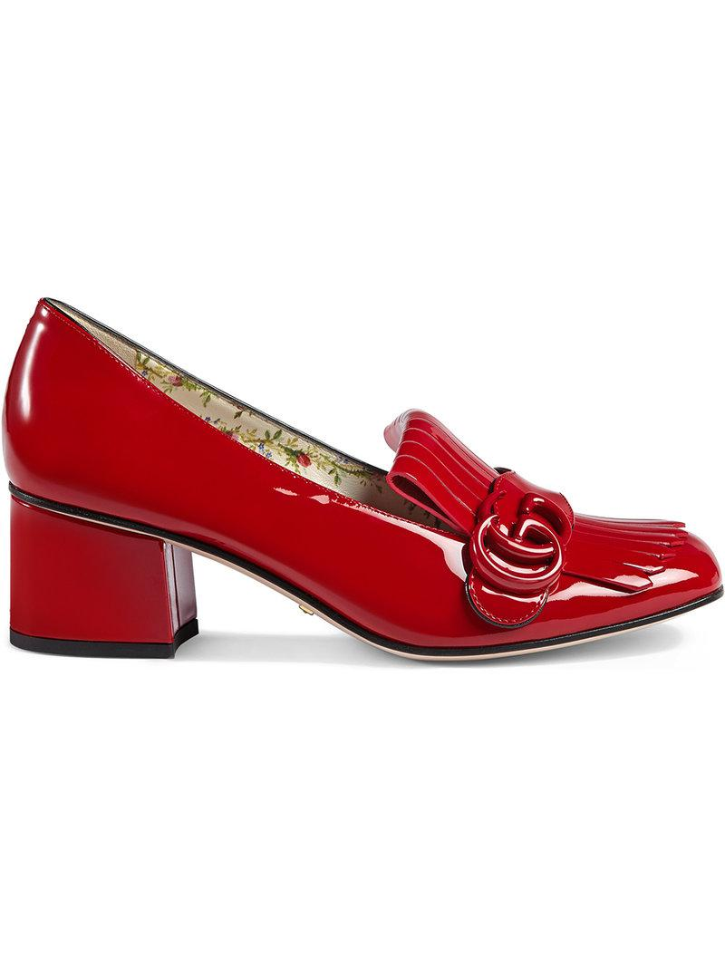 9ec3cd7e172 Lyst - Gucci Marmont Patent Leather Mid-heel Pump in Red