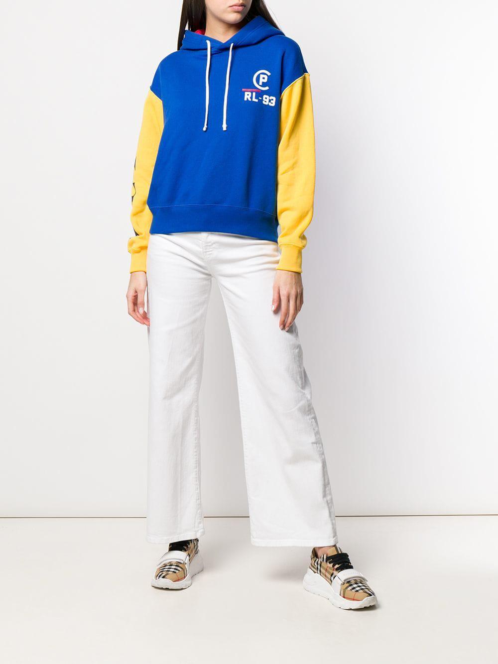 c854222bc Polo Ralph Lauren Contrast Sleeve Hoodie in Blue - Lyst