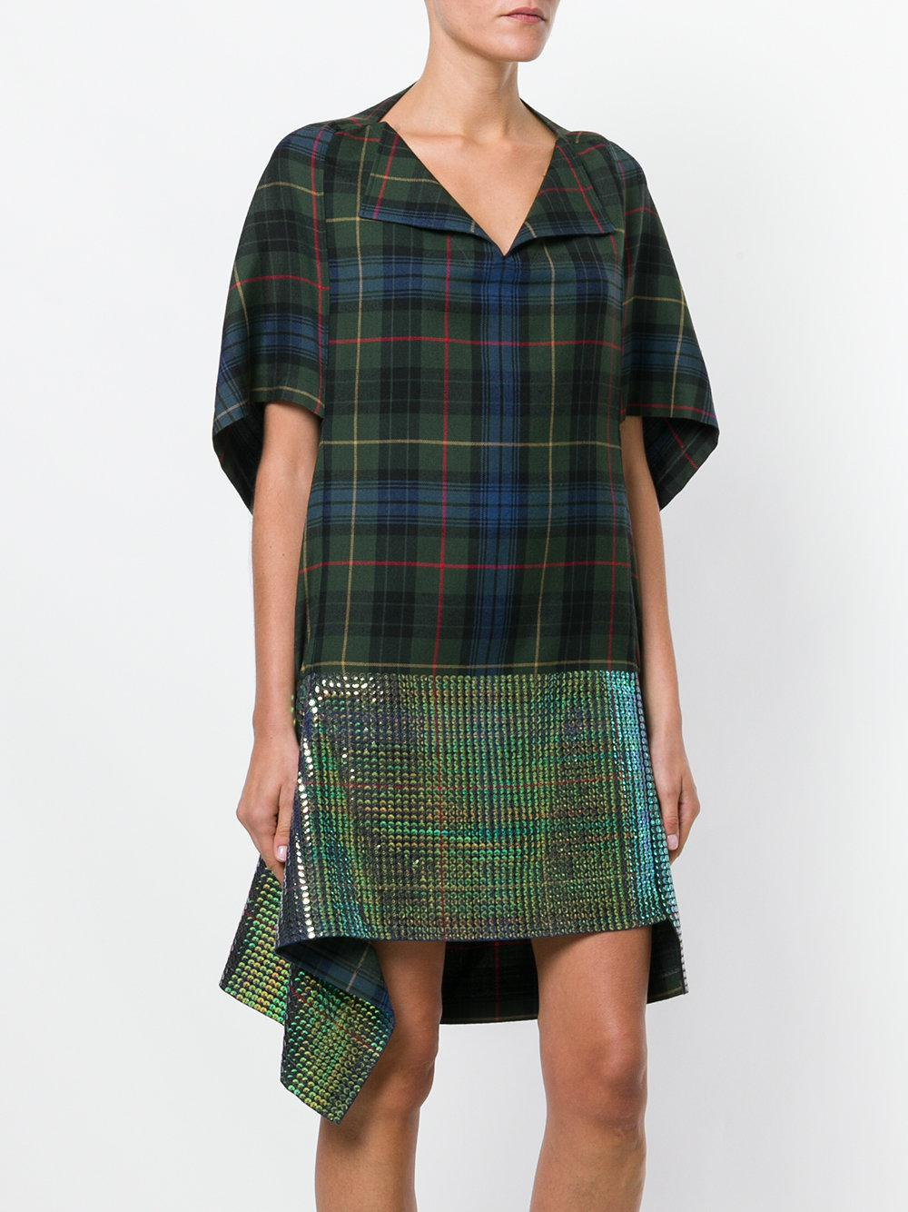 Junya Watanabe Wool Plaid Print And Sequin Panelled Dress in Green