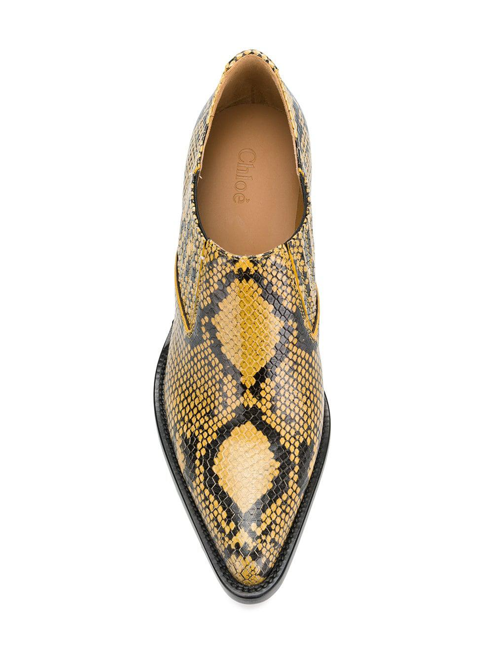 Chloé Leather Snake Printed Boots in Yellow