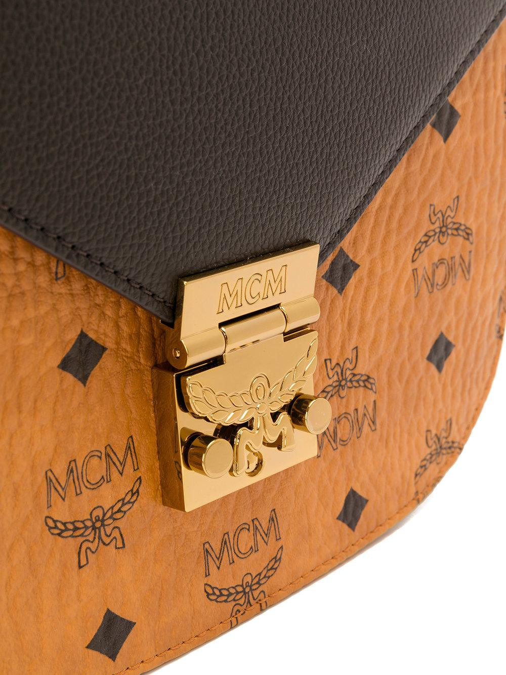 MCM Leather Monogram Print Crossbody Bag in Brown