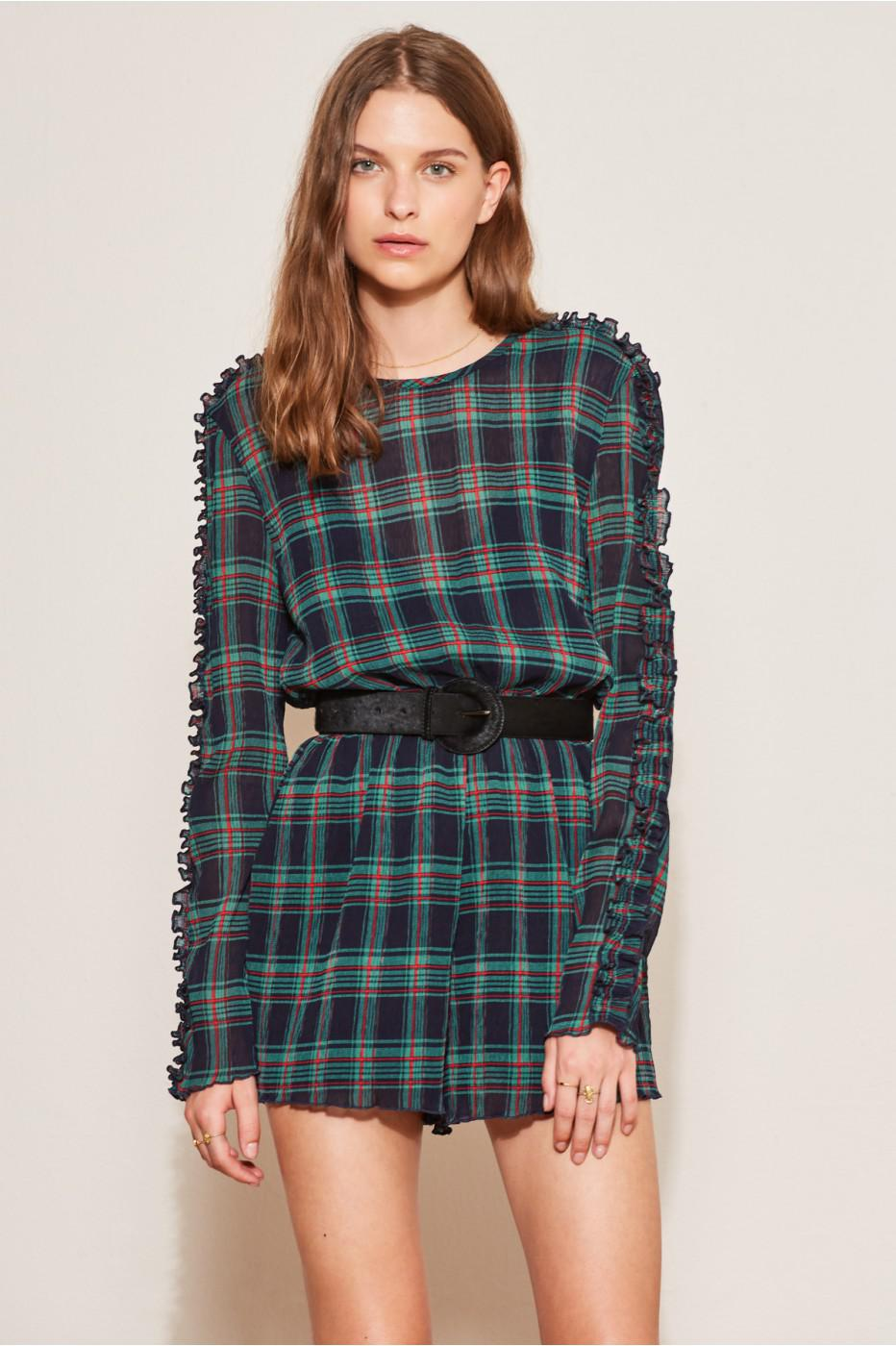 2d553614f6e5 Lyst - The Fifth Label Zone Tartan Long Sleeve Playsuit in Blue