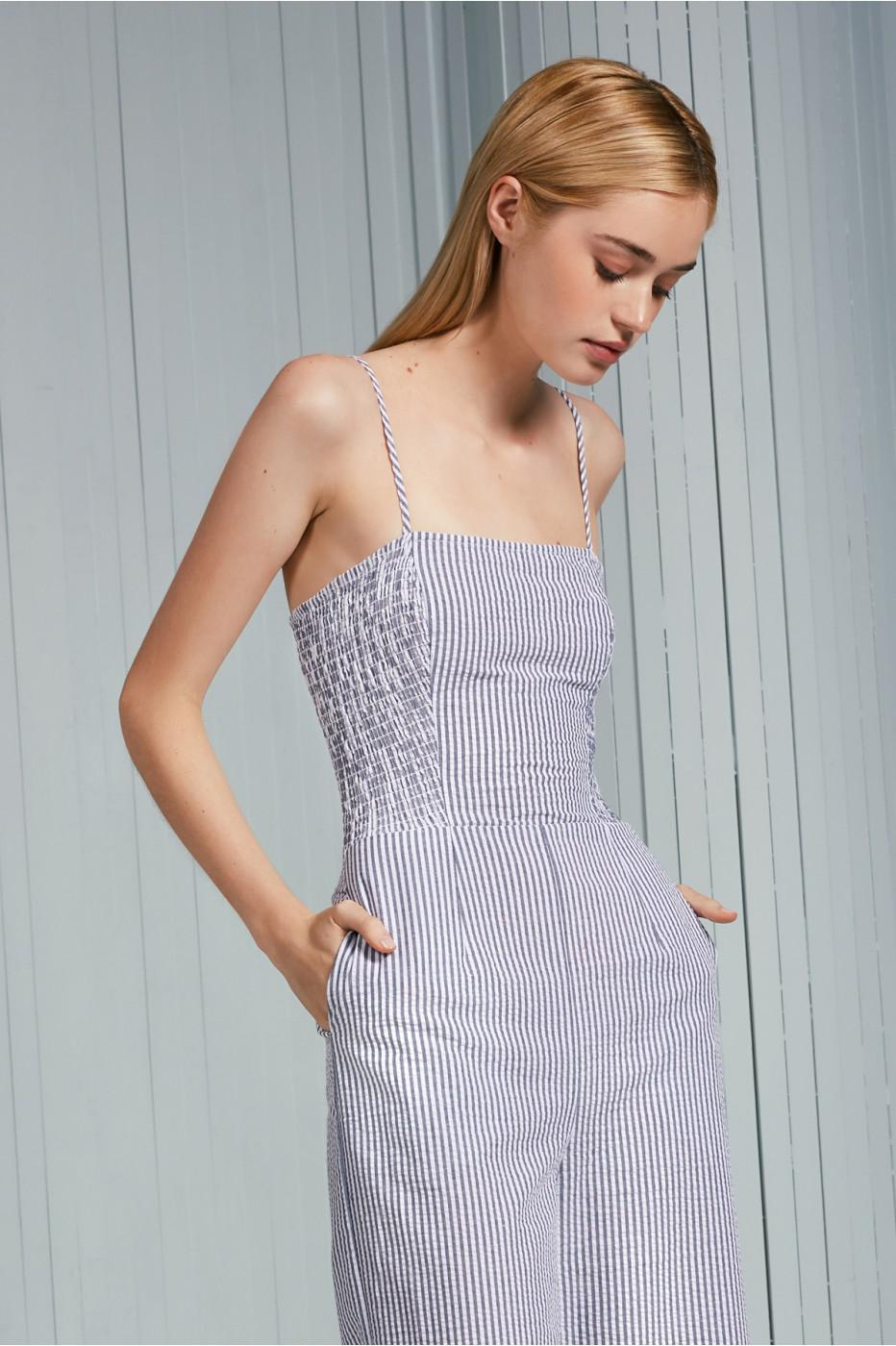 130d80b821dc Lyst - The Fifth Label Anagram Stripe Jumpsuit in Blue