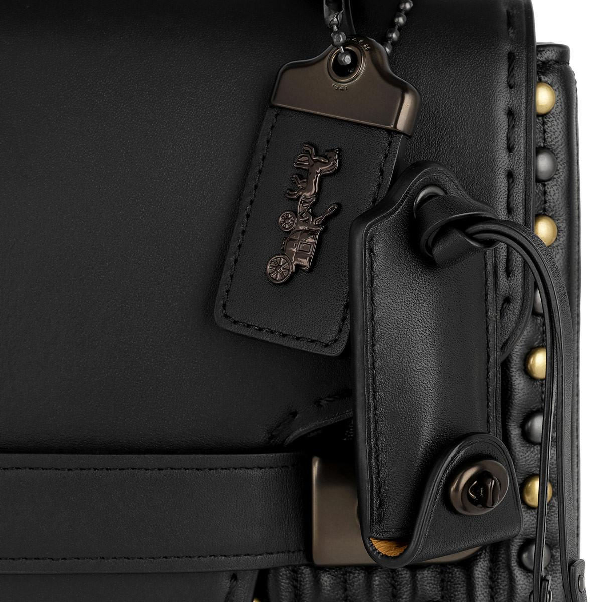COACH Leather Swagger Chain Crossbody With Quilting/rivets Black/black Copper