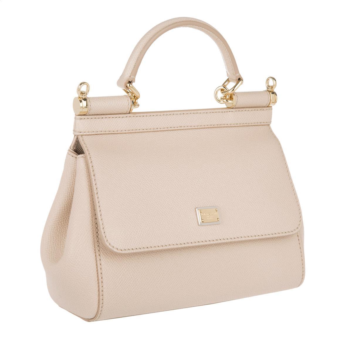 Dolce   Gabbana Mini Bag Sicily Vitello Stampa Dauphine Rosa Carne 1 ... d28c526918b1a