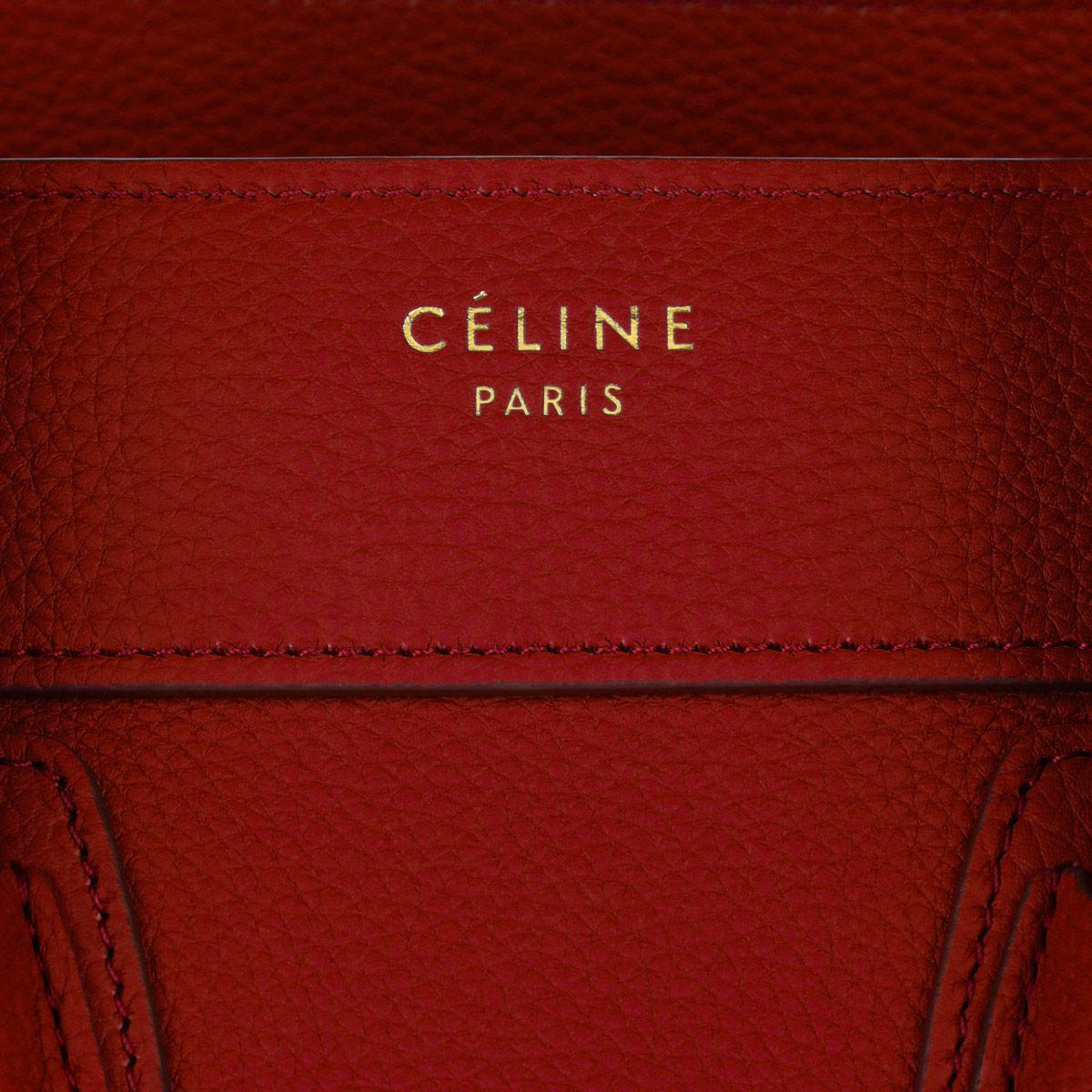 Celine Suede Micro Luggage Tote Red