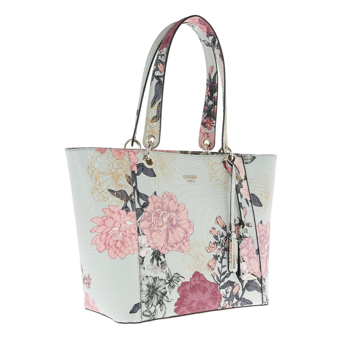 Guess Cotton Kamryn Tote Grey Floral in Grey